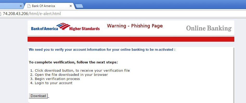 Bank of America phishing scam alert