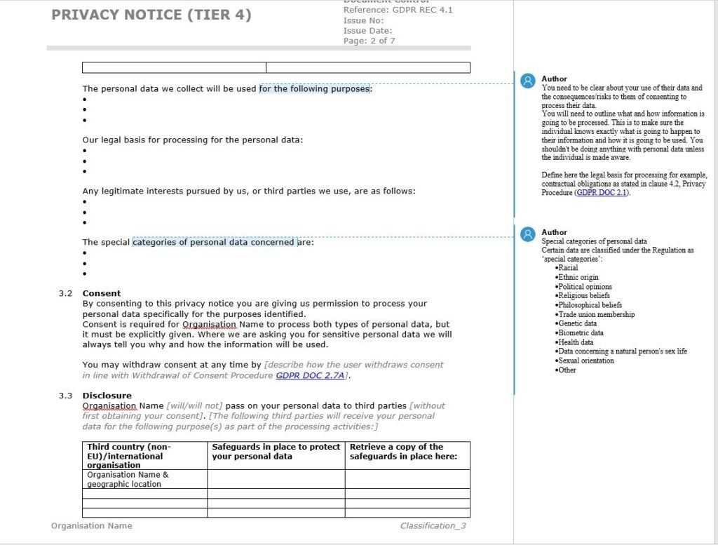 Privacy notice template example